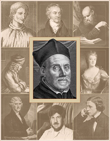 Clockwise from top left, polymaths through the ages: Giordano Bruno, Thomas Young, Galileo Galilei, Emilie du Châtelet, Lewis Carroll, Stephen Jay Gould, Thomas Jefferson, Voltaire, and Athanasius Kircher (center). Portraits: Bruno, Carroll, Galileo, Young, Voltaire: Getty Images; Châtelet, Gould, Kircher: Corbis; Jefferson: Library of Congress