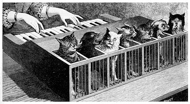 The cat piano, described by Kircher in Musurgia Universalis