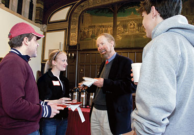 At Professors and Pastries on February 20, 2008, from left: Robert Duggan '10, Katelyn Jones '11, German Studies Professor Michael Resler, and Paul Wooten '10. Photograph: Lee Pellegrini