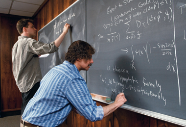 Number theorists Friedberg (right) and math faculty colleague Ben Howard. Photograph: Lee Pellegrini