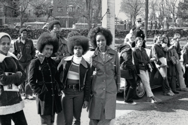 From left: Denise Simpson '77, Bobby Carrington '76, Zina Hudson '77, Willie Elder '76, Debbie Creech '77, and Deborah Kimbrough-Lowe '77