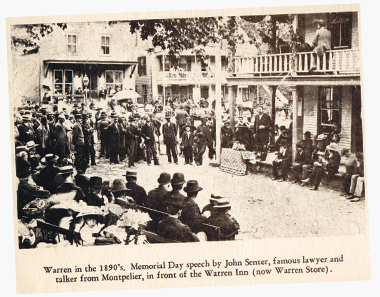John Senter delivering a speech in Warren, Vermont, on Memorial Day, 1890. Photograph: Vermont Historical Society