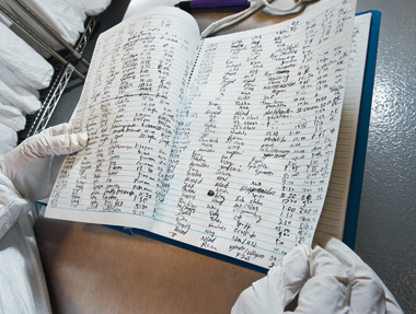 Keeping track of sputters and scans, the old-fashioned way. Photograph: Gary Wayne Gilbert