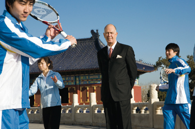 McCarthy and proteges at Beijing's Temple of Heaven. Photograph: Aaron Kuo-Deemer
