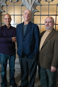 From left, Andy Rotman, Larry Friedlander (moderator, from Stanford University), and John Makransky