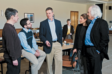 From left: Halpern, Cooley, Vanderhooft, theologian Pheme Perkins of Boston College (rear), Podany, and Jimmy Roberts of Princeton Theological Seminary. Photograh: Lee Pellegrini