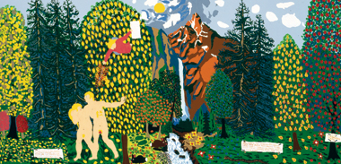 Adam and Eve Leave Eden (1973), by American folk artist John William Dey. Image: Smithsonian American Art Museum/Art Resource