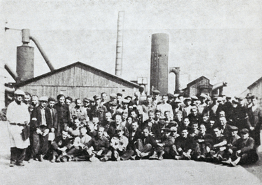 Undated photo of workers in front of the Starachowice blast furnace, from a memorial book by former residents of Wierzbnik, Poland. Photograph: The Dorot Jewish Division, The New York Public Library, Astor, Lenox, and Tilden Foundations