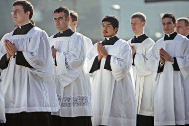 Seminarians from Conception Seminary College in Missouri, at the November 2009 National Catholic Youth Conference in Kansas City, Kansas. Photograph: Tammy Ljungblad/MCT/Landov