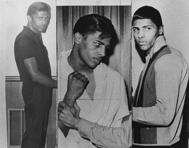 Kenny Pemberton, the author's father, in a collage of images sent to the author by the New Bedford Standard-Times when he was in his twenties. The boxer was murdered in 1972 at age 26.