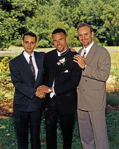 On his wedding day in June 1997, Pemberton was joined by two of his three brothers, Ben (right), older by nine years, and Steven (originally named Bernard), a year his junior.