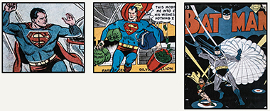 The 1970s would see the evolution of Superman and Batman from fit crime fighters to larger-than-life superheroes, according to Lindsay Crane '14. Above and right are Superman and Batman in 1965 and 1942, respectively. The images below show the two after bulking up. Images: Courtesy of John J. Burns Library and the exhibition Revealing America's History through Comic Books. Click images to enlarge.