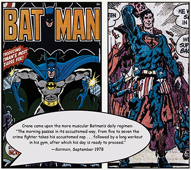 Left: Cover from Batman's Great Identity Switch (September 1978). Right: A frame from The Secret of the Eighth Superman (November 1973). Click images to enlarge.