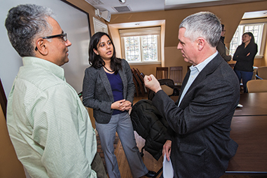 History professor Prasannan Parthasarathi (left), Aiyar, and Kenny. Photograph: Lee Pellegrini