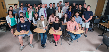 Petersen with the seniors of EC380, in Campion 200. Click image to enlarge.