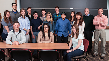 Chiles (far right) and Connolly with the seniors of BI543, in Stokes 201S. Click image to enlarge.