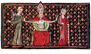 A bishop nullifies a marriage—from a 12th-century rendering of Byzantine emperor Justinian's 6th-century legal digest, the Pandectae. Illustration: © Roger-Viollet / The Image Works