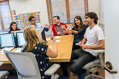 In The Mindy Project writers' room (clockwise from left): Alina Mankin, Jeremy Bronson, Chris Schleicher, Wigfield, Jeremy Tramer, and Miranda Berman.