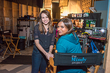 On a Universal sound stage with Mindy Kaling.