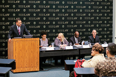 From left: Law School dean Vincent Rougeau, Maze-Rothstein, Wells, Williams, and Shapiro. Photograph: Adam DeTour