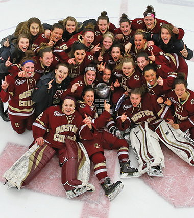 The 2015–16 women's ice hockey team, celebrating their Beanpot victory over Northeastern University on February 9. Photograph: John Quackenbos / Boston College Athletics