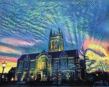 Gasson Hall, in the style of Vincent van Gogh. Image: Andrew Francl '16 and Jesse Mu '17. Click image to enlarge.