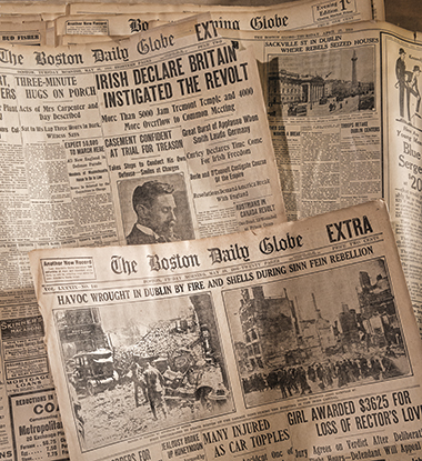 The Easter Rising and its aftermath, in Dublin and in Boston, topped front pages of the Boston Globe. Photograph: Gary Wayne Gilbert. Click image to enlarge.