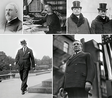Boston Irishmen of influence (clockwise, from top left): Hugh O'Brien, in an undated late 19th-century photograph; John Boyle O'Reilly, circa 1888; Cardinal William Henry O'Connell, left, with John Francis Fitzgerald, circa 1934; James Michael Curley, circa 1930; and David Ignatius Walsh, circa 1918. Photographs (clockwise from top left): Boston Public Library (BPL); Donahoe's Magazine; BPL; University of Massachusetts Amherst Library. Click image to enlarge.