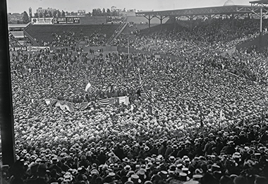 According to A.J. Philpott, reporting in the Boston Globe, Éamon de Valera got a reception from at least 50,000 people at Fenway Park yesterday afternoon [June 29, 1919] such as no other Irish patriot ever received in Boston. . . . It was electric, he wrote, and in that vast audience there was a sense of new dignity. Photograph: Courtesy of the Boston Public Library, Leslie Jones Collection. Click image to enlarge.
