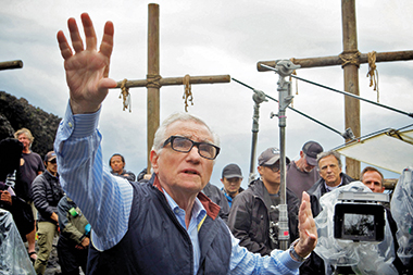 Scorsese on the set of Silence. The film was shot in Taiwan and Macao. Image: Kerry Brown / Paramount Pictures