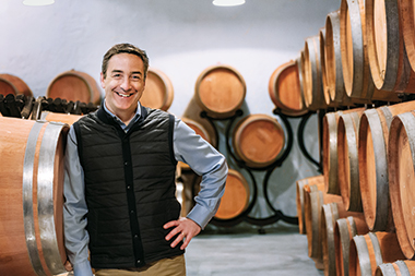 Bolger, with casks containing his customers' wine. Image: Vincent Boutin