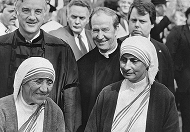 As an honoree at the 1982 Harvard Commencement with fellow honoree Mother Teresa (and companion) and Harvard President Derek Bok. Image: Lee Pellegrini