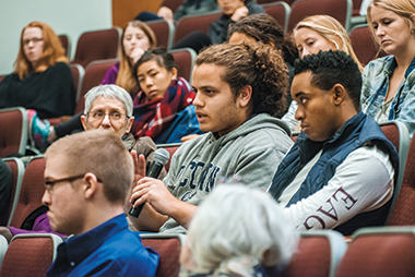 A faculty and student discussion held on November 17 in Devlin Hall. Image: Gary Wayne Gilbert