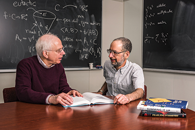 Ash (left) and Gross in the mathematics department's faculty lounge in Maloney Hall. Image: Peter M. Julian