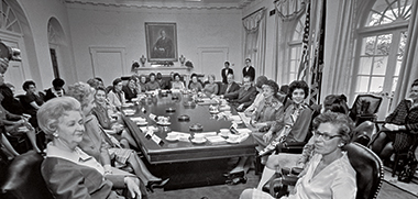 President Nixon in the Cabinet Room with his recently appointed Citizens' Advisory Council on the Status of Women, on November 11, 1969. Nixon signed Title IX into law three years later and supported passage of the failed Equal Rights Amendment. Image: Karl Schumacher / The Richard Nixon Presidential Library and Museum / National Archives and Records Administration. Click image to enlarge.