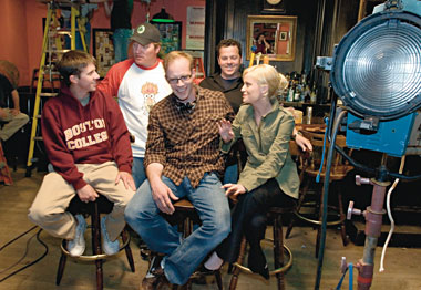 On set, from left: John Bertolon, Meyer, McLaughlin, Smith, and Poehler. Photograph: Gary Wayne Gilbert