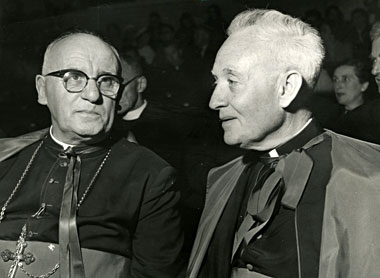 Msgr. John Tracy Ellis (right) with Archbishop Patrick O'Donnell, June 19, 1961. Photograph: John Tracy Ellis Papers/American Catholic History Research Center and University Archives/Catholic University of America