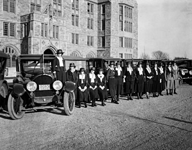 The Philomatheia Club, 1917—women in support of Boston College. Photograph: Burns Archive
