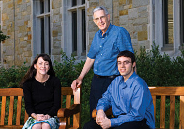 Biology Professor Thomas Seyfried, Will Markis '07, and Christine Denny '05, MS'06, a former UFRF fellow and graduate student in Seyfried's lab