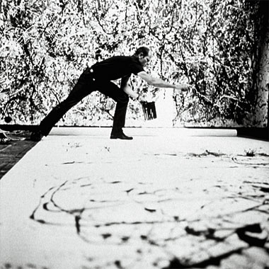 Jackson Pollock in his East Hampton studio, summer 1950. Photograph: David Lefranc/Corbis Kipa