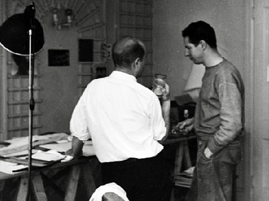 Pollock (left) with Matter, probably in Matter's Tudor City studio c. 1943. Photograph: Courtesy McMullen Museum of Art