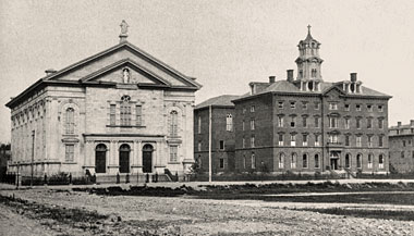 Immaculate Conception (left) and Boston College, photographed by Oliver Wendell Holmes before 1875. Photograph: University Archives, John J. Burns Library, Boston College