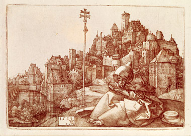 Albrecht Dürer depicted St. Anthony (c. 250–350), the founder of Christian monasticism in Egypt, seated before 16th-century Nuremberg. Engraving: SEF/Art Resource, NY