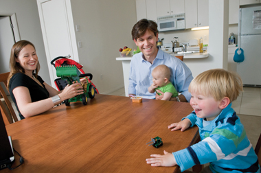 The author, his wife, Amelia, and sons, Blaise (six months) and Cole (two and a half), in Boston, June 2008. Photograph: Lee Pellegrini