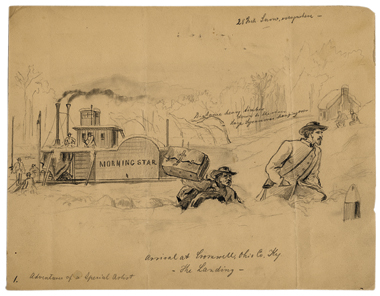 Henri Lovie's Adventures of a Special Artist, February 17, 1863, Cromwell, Kentucky, shows the artist and a military escort in deep snow.
