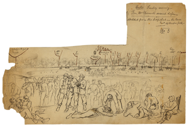 From the Battle of Pittsburg Landing, Shiloh, General McClernand's Second Defense, by Lovie, April 6, 1862.
