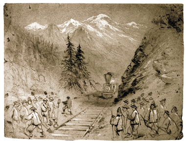 Joseph Becker worked in white gouache and graphite on toned paper to record this scene of Chinese rail workers in the West, sometime in 1869–70.