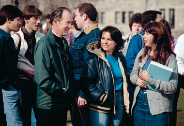 Monan with students in the late 1970s. Photograph: Boston College