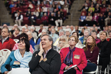 Attendees at the conference in Conte Forum April 10. Photograph: J.D. Levine