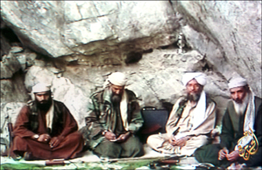 Osama Bin Laden (second from left), in a video filmed in Afghanistan and released by Al Jazeera television on October 7, 2001. Photograph: Gamma-Rapho via Getty Images